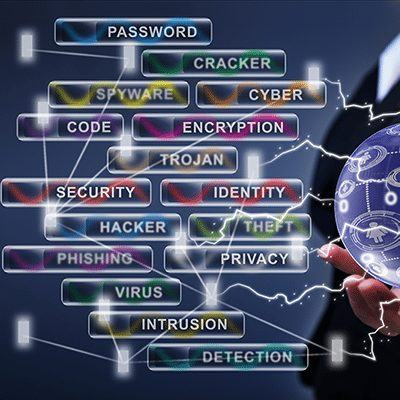 woman holding technology keywords